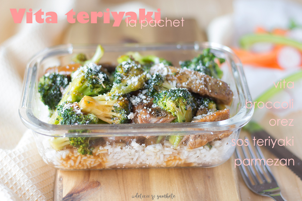 Vita teriyaki cu broccoli si orez basmati