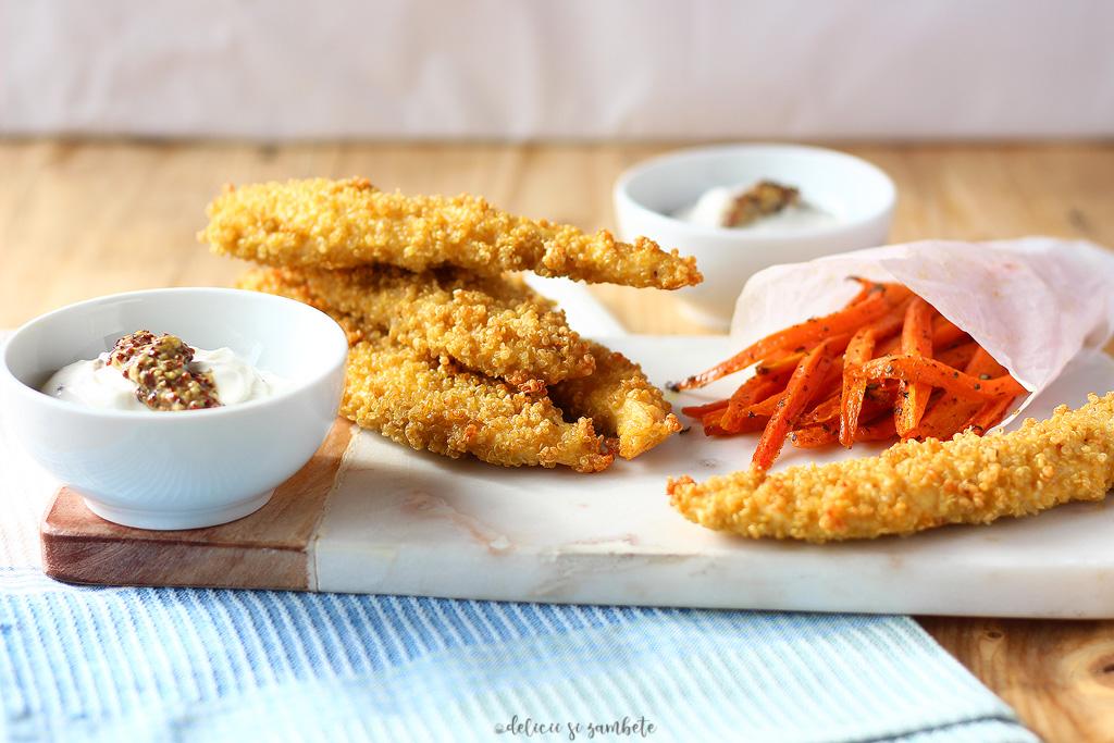 Crochete de pui in crusta de quinoa la cuptor